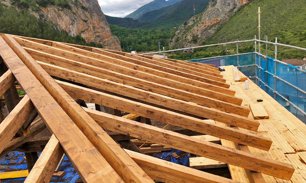 Tejado estructura de madera